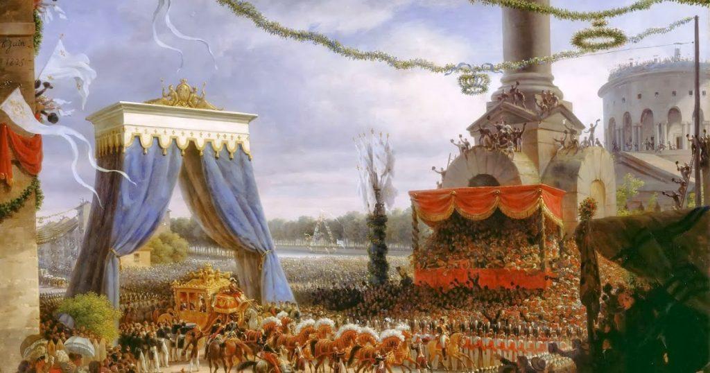 Louis-François Lejeune (1775 - 1848), : Entrée de Charles X à Paris, par la barrière de la Villette, après son sacre. 6 juin 1825 , 1825, huile sur toile, musée du château de Versailles.