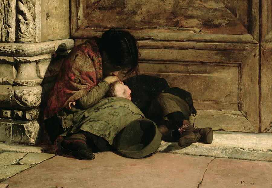 Luigi Nono (1850-1915), Abandonnés, 1903, huile sur toile, musée d'Art moderne de Ca' Pesaro, Venise.