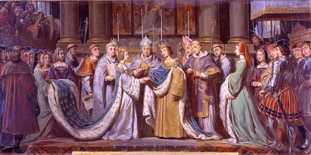 Saint-Evre Gillot (1791-1858), Mariage de Charles VIII et d'Anne de Bretagne, 6 décembre 1491, date inconnue, huile sur toile, Versailles, châteaux de Versailles et de Trianon.