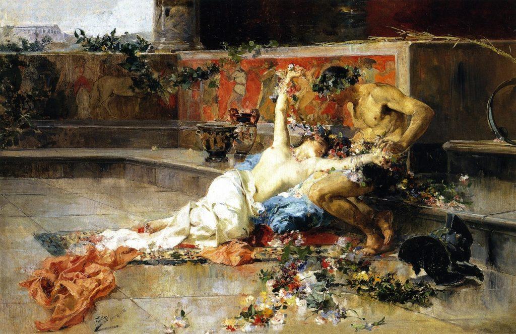 Joaquin Sorolla y Bastida (1863-1923), Messaline dans les bras du gladiateur, 1886, huile sur toile, collection privée.