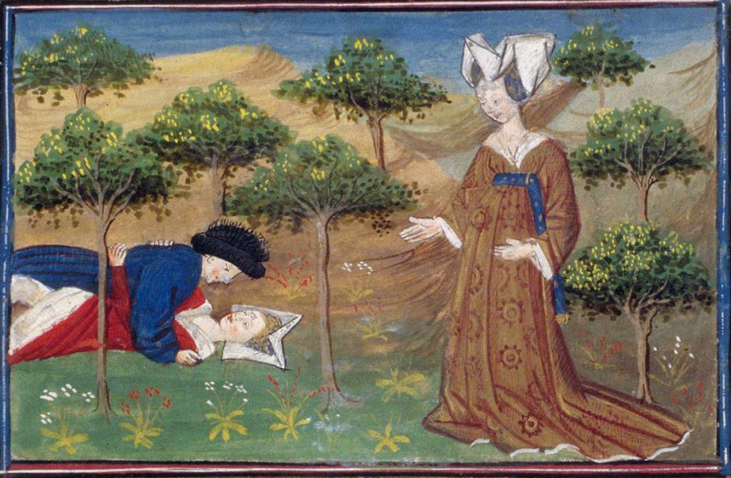 La fée Morgane piégant les hommes infidèles dans le Val sans Retour. Enluminure de Lancelot du Lac, manuscript copié à Poitiers en 1480. Bibliothèque Nationale de France.