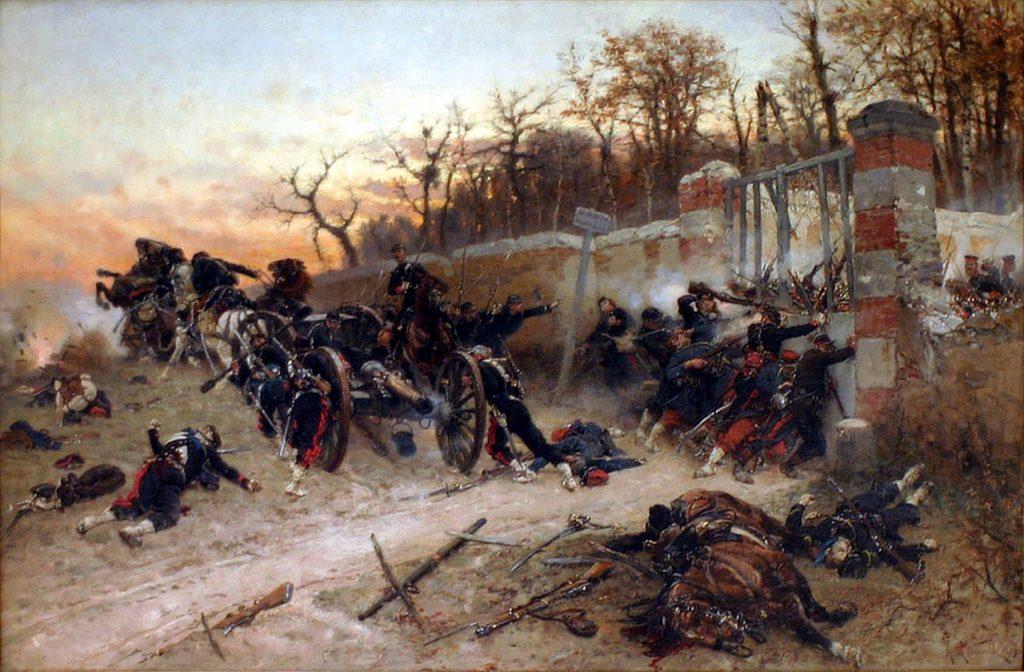 Alphonse de Neuville (1836–1885), Défense de la porte de Longboyau, château de Buzenval, le 21 octobre 1870, 1879, huile sur toile, musée de l'Armée.