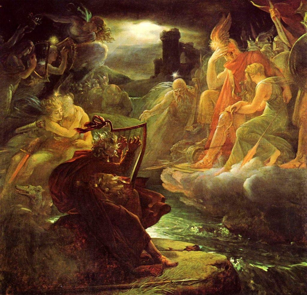 François Gérard (1770–1837), Ossian évoque les fantômes au son de la harpe sur les bords du Lora, huile sur toile, château de Malmaison.