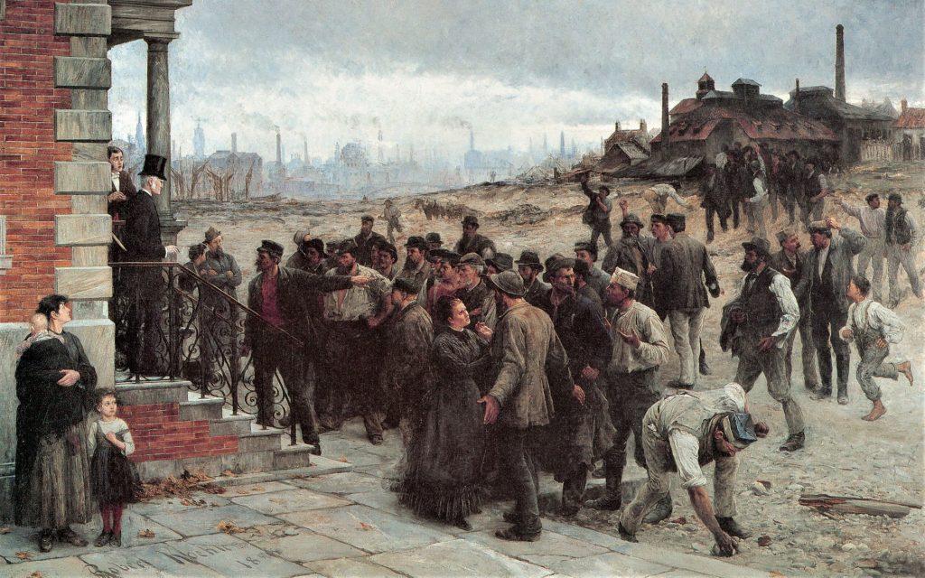 Robert Koehler (1850–1917), La Grève au pays de Charleroi, 1886, huile sur toile, musée historique allemand.