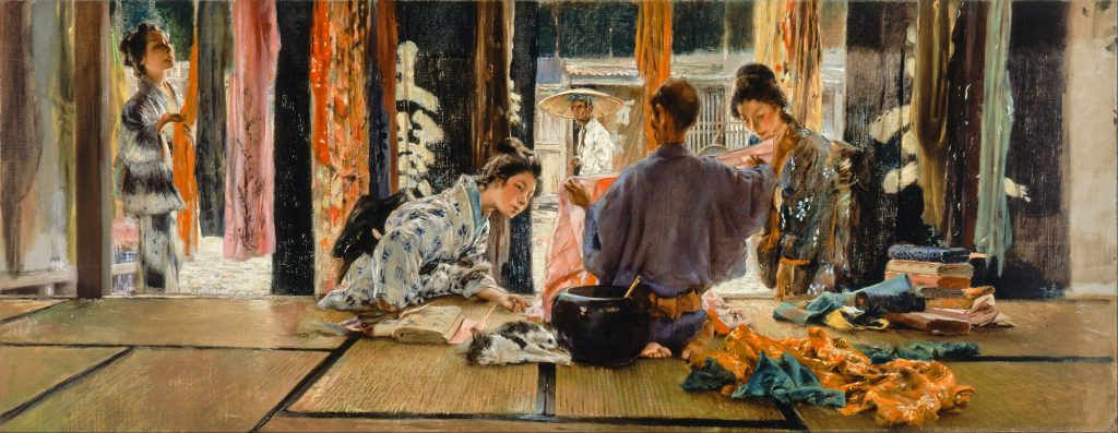 Robert Frederick Blum (1857-1903), Le marchand de soieries, Japon, 1892, huile sur toile, musée d'art de Cincinatti.