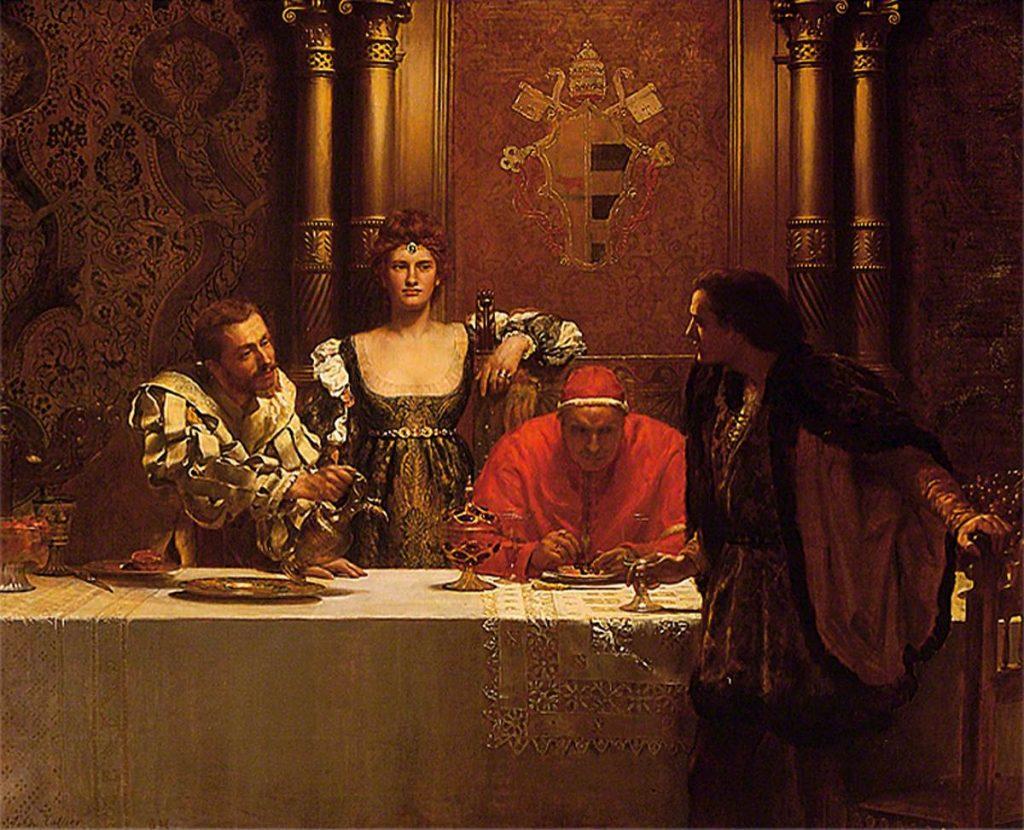 John Collier (1850–1934), Un verre de vin avec César Borgia, 1893, huile sur toile, Ipswich Museum and Art Gallery.