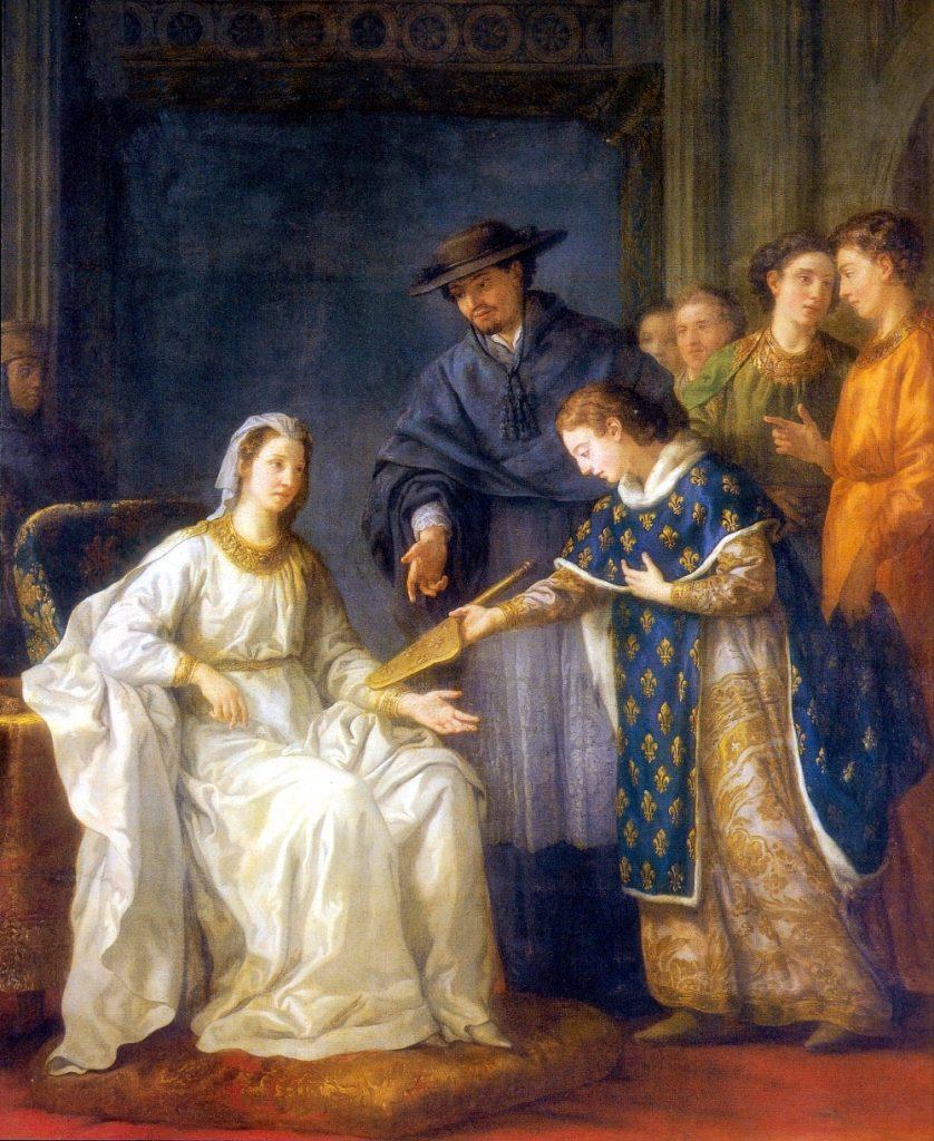 Joseph-Marie Vien (1716–1809), Saint Louis, roi de France, remettant la régence à sa mere Blanche de Castille, huile sur toile.