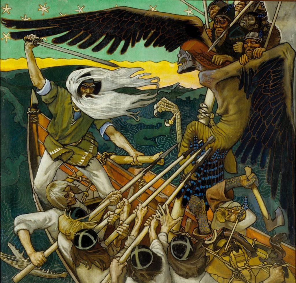 Akseli Gallen-Kallela (1865-1931), La défense du Sampo,1896,Turku Art Museum.