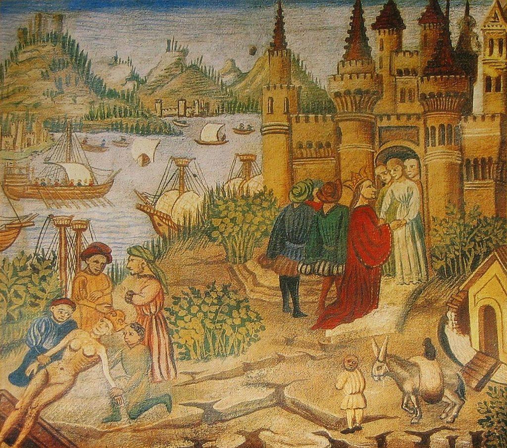 Miniature représentant l'école de médecine de Salerne à partir d'une copie du Canon de la médecine d'Avicenne. Bibliothèque de l'Université de Bologne.