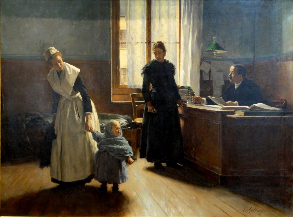 Édouard Gelhay (1856-1939), Aux enfants assistés, L'abandon, 1886, huile sur toile, musée d'Art et d'Archéologie de Senlis.