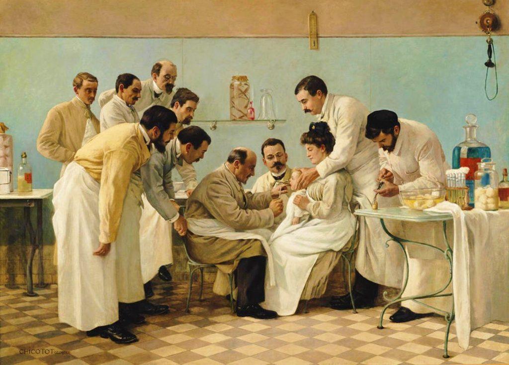 Georges Moreau de Tours (1848-1901), Le tubage, 1904,huile sur toile, Musée de l'assistance publique de Paris.