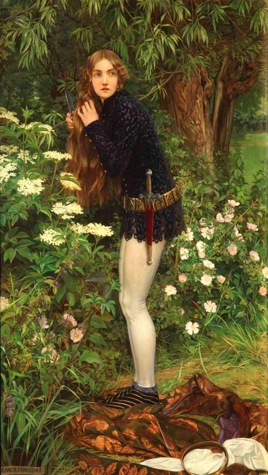 Eleanor Fortescue-Brickdale (1872–1945), The Little Foot Page, (Le petit page à pied),1905, huile sur toile,Walker Art Gallery.