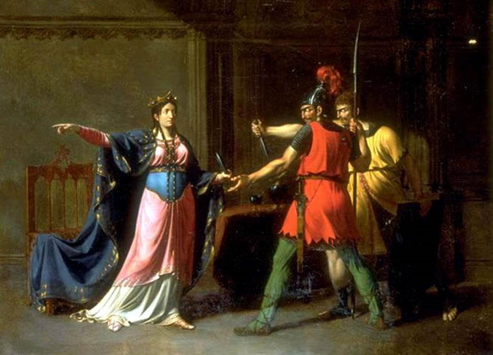 Emmanuel Herman Joseph Wallet (1771-1855), Frédégonde armant les meurtriers de Sigebert, huile sur toile, musée de la Chartreuse de Douai.