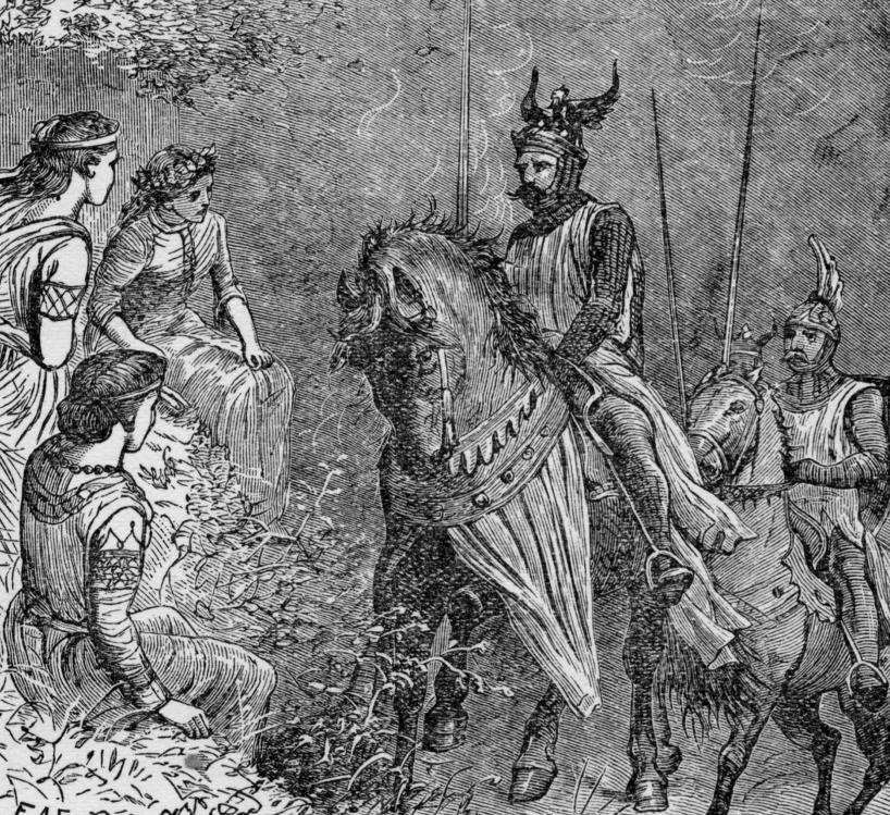 Yvain et les demoiselles à la fontaine. Illustration de de F.A Fraser pour Le roi Arthur et ses chevaliers de la Table Ronde par Henry Frith. 1912.
