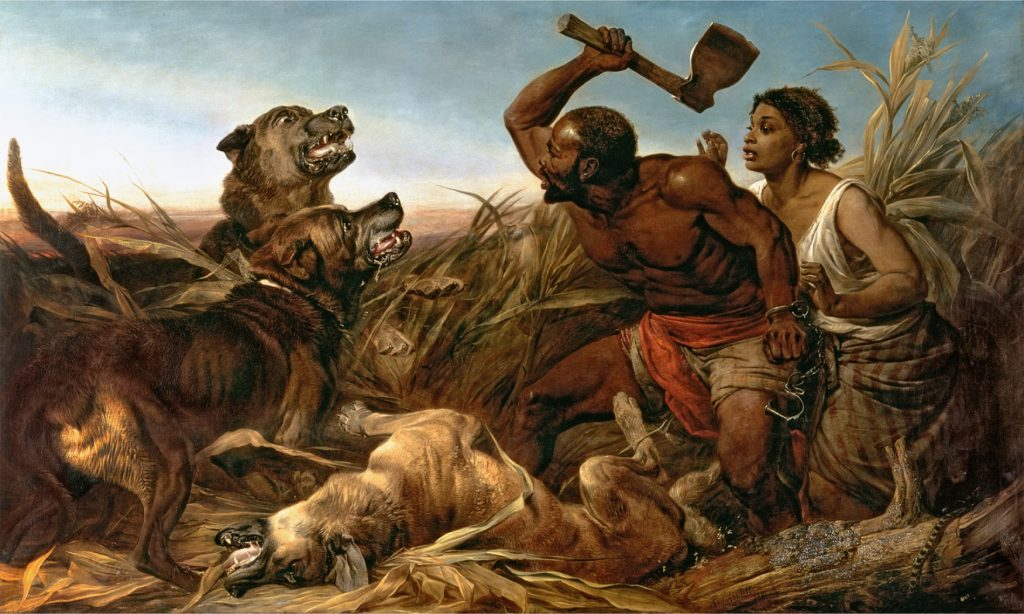 WGL269070 The Hunted Slaves, 1862 (oil on canvas) by Ansdell, Richard (1815-85); 184x308 cm; © Walker Art Gallery, National Museums Liverpool; English, out of copyright