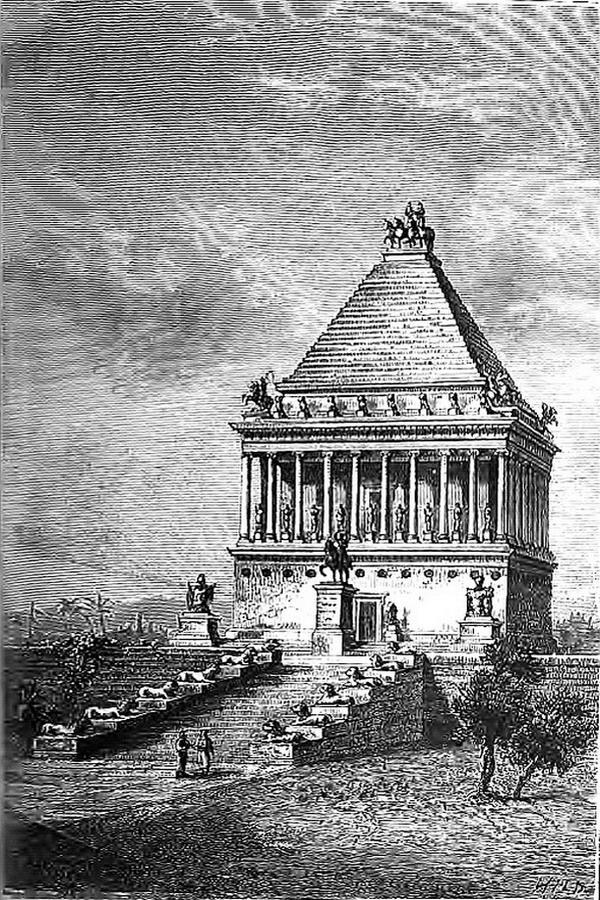Gravure du XIXeme siècle montrant une représentation du mausolée d'Halicarnasse basé sur les témoignages de ses contemporains