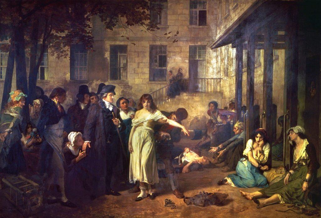 Tony Robert-Fleury (1838-1911), Le docteur Philippe Pinel faisant tomber les chaînes des aliénées à la Salpêtrière,huile sur toile.