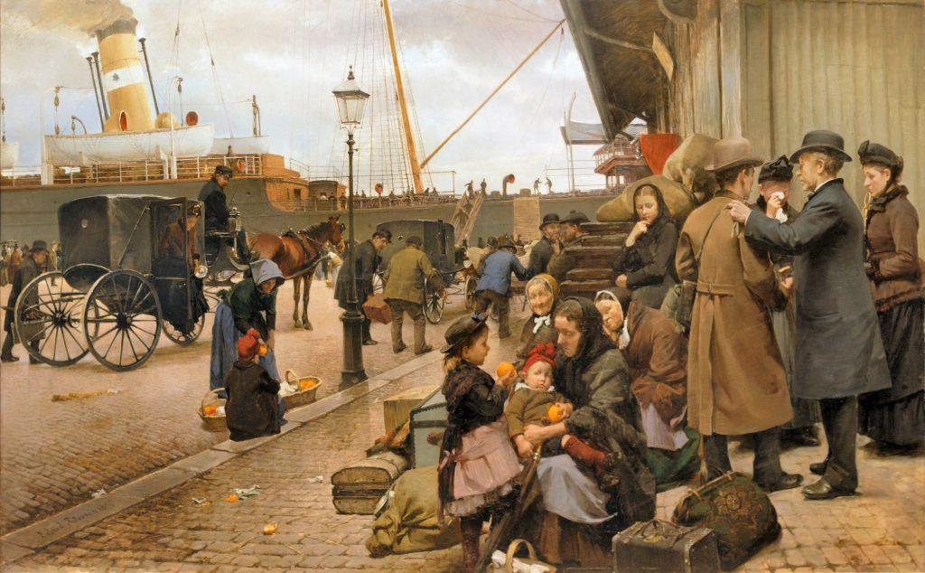 Edvard Petersen (1841–1911), Emigrés à Larsens Plads, 1890, huile sur toile, ARoS Aarhus Kunstmuseum.