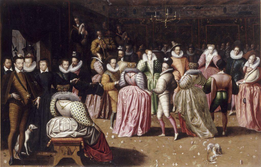 Bal à la cour d'Henri III, peinture, école française, vers 1580. Musée du Louvre. Le roi apparaît en bas à gauche, la reine Louise est en robe rose face au spectateur.