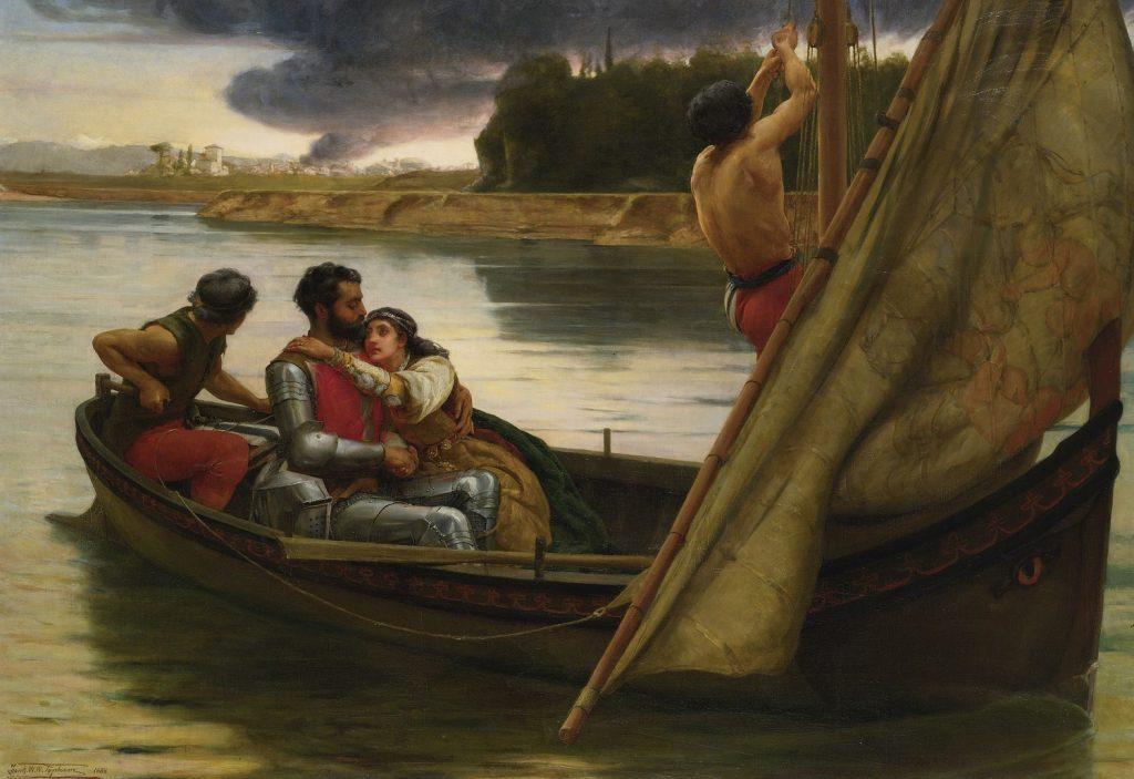 Frank William Warwick Topham (1838 - 1929), Le voyage du roi Arthur et de la fée Morgane vers l'île d'Avalon, 1888, huile sur toile.