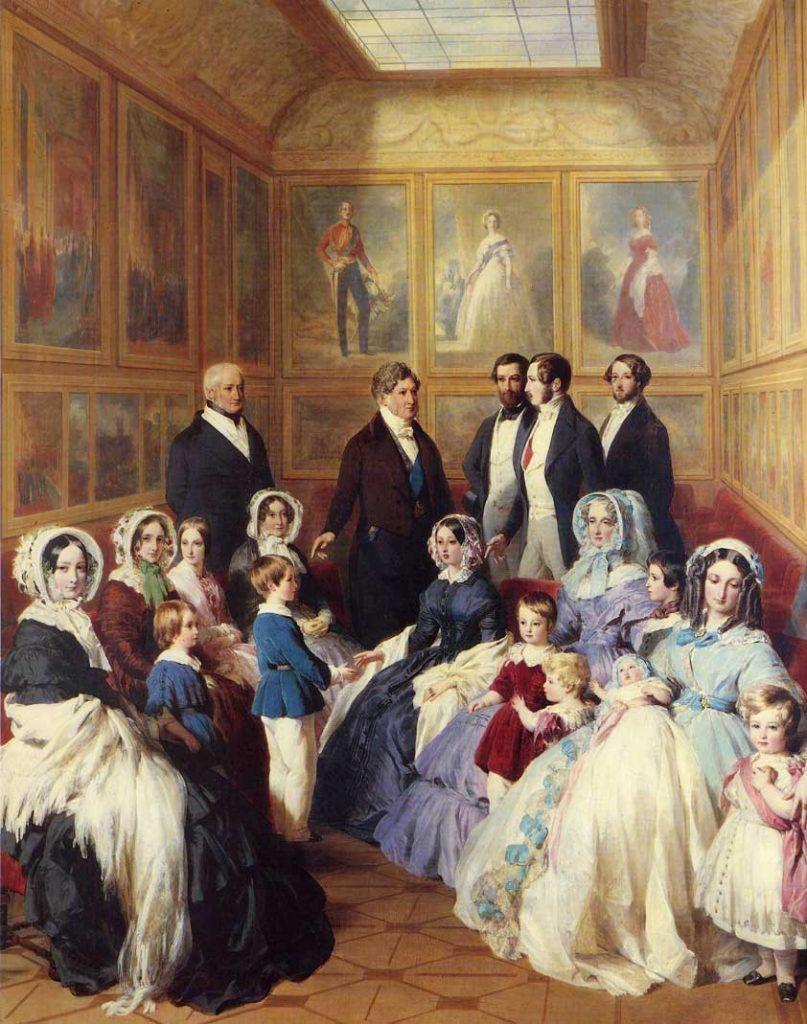 La reine Victoria et le prince Albert reçus au château d'Eu par le roi Louis-Philippe et la reine Marie-Amélie. Peinture de Franz Xaver Winterhalter (1805-1873).