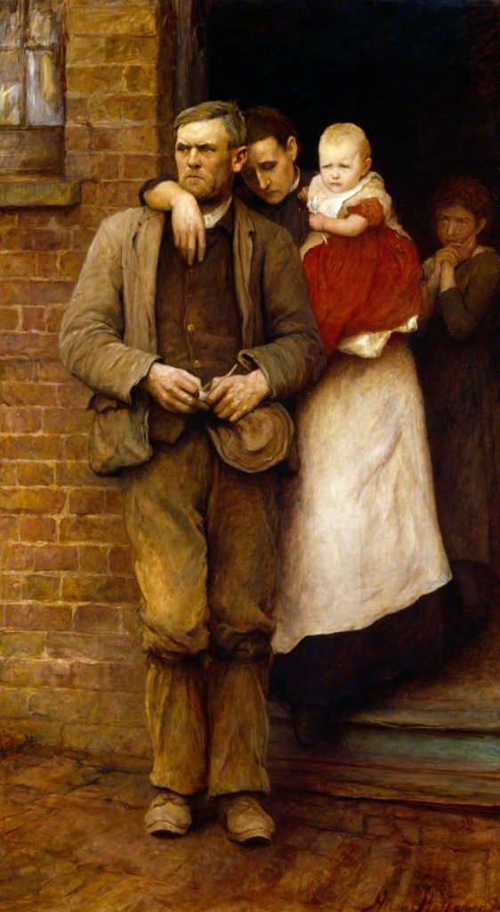Hubert von Herkomer (1849-1914), On Strike, 1891, huile sur toile, Royal Academy of Arts.