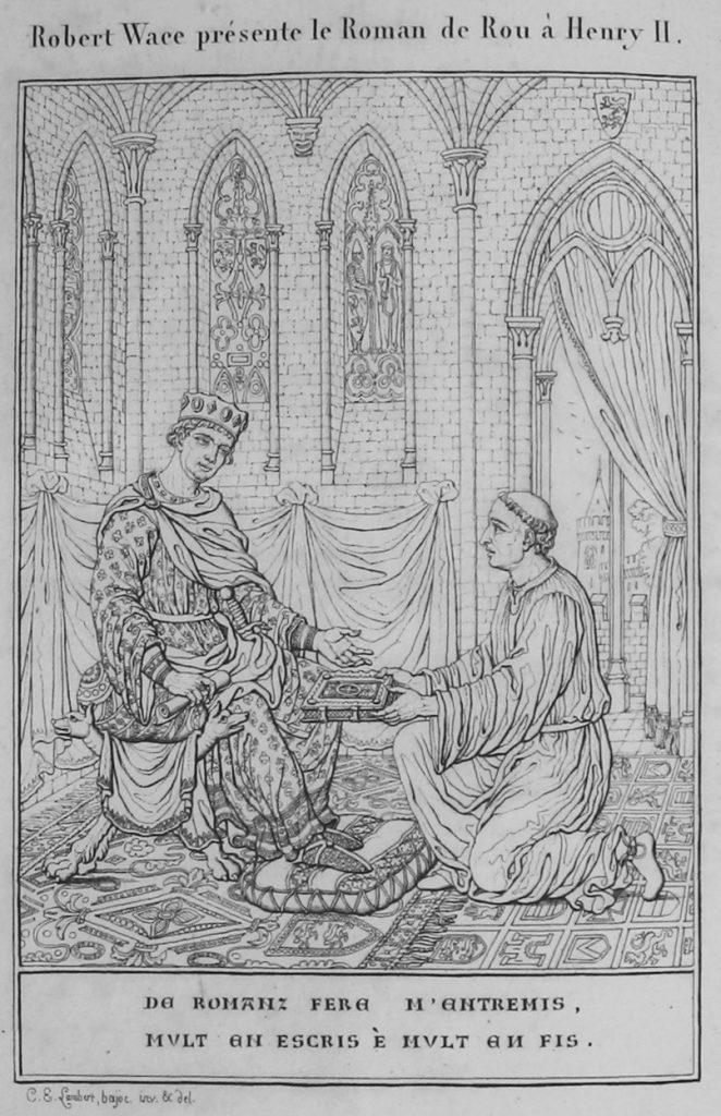 Wace remettant le Roman de Rou à Henri II. Illustration de Notice sur la vie et les écrits de Robert Wace par Frédéric Pluquet, 1824.
