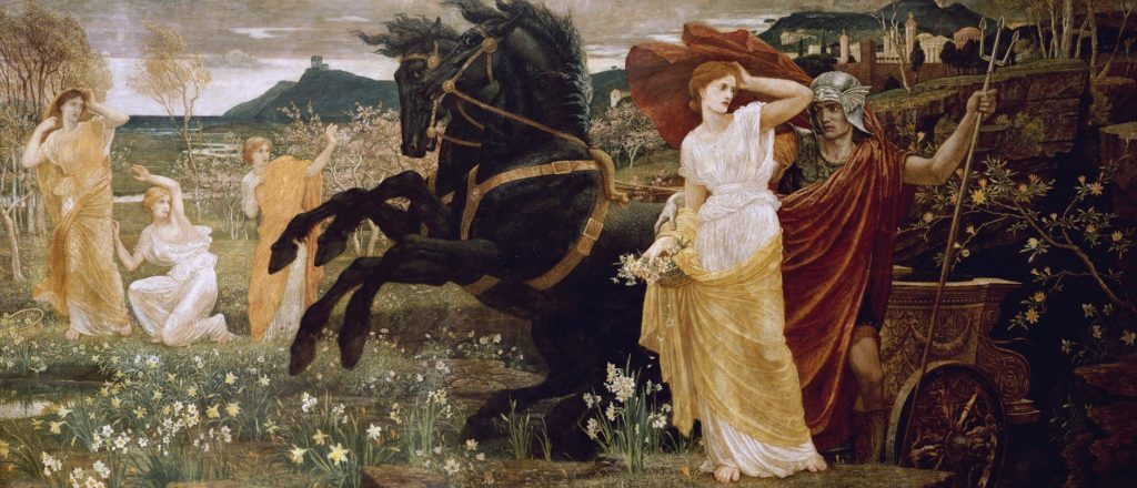 CH349296 The Fate of Persephone, 1877 (oil & tempera on canvas) by Crane, Walter (1845-1915); 122.5x267 cm; Private Collection; (add.info.: Queen of the Underworld; Goddess of Spring;); Photo © Christie's Images; English, out of copyright