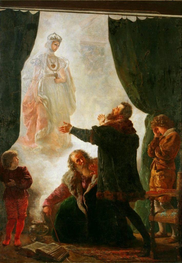 Wojciech Gerson (1831–1901), Le fantôme de Barbara Radziwiłł, 1886, huile sur toile, Musée national de Poznań.
