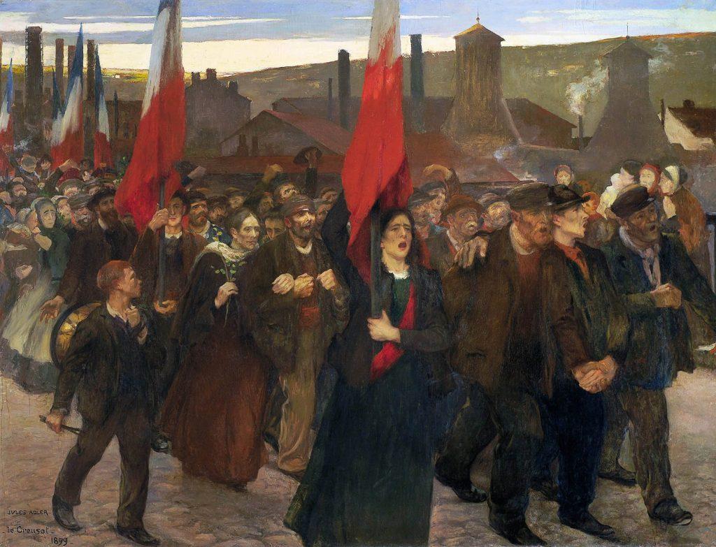 Jules Adler (1865-1952), La grève au Creusot, 1899, huile sur toile, musée des Beaux-Arts de Pau.