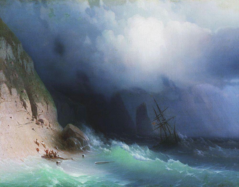 Ivan Aivazovski (1817-1900), Le naufrage près des rochers, 1870, huile sur toile, collection privée.