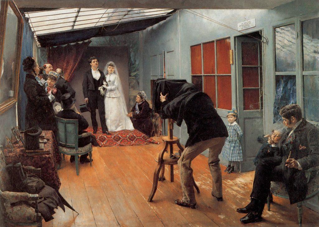 Pascal Adolphe Jean Dagnan-Bouveret (1852-1929), Une noce chez le photographe, 1878-1879, huile sur toile, Musée des Beaux-Arts de Lyon.