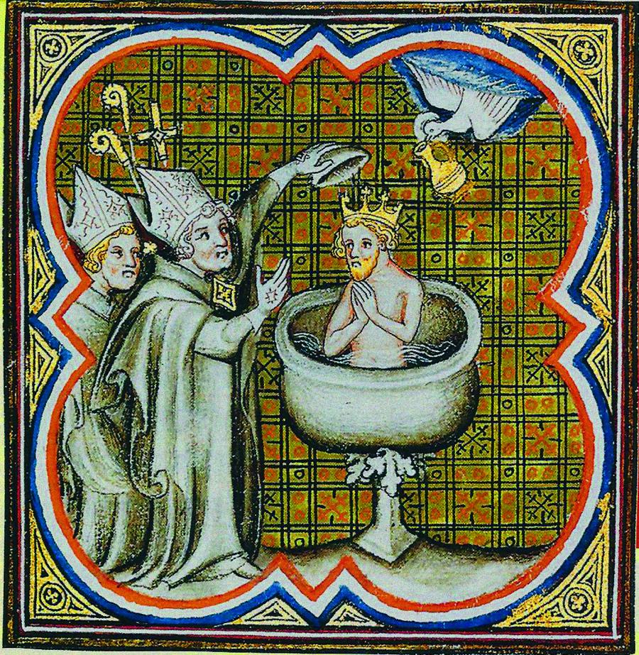 Enluminure représentant le baptême de Clovis. Grandes Chroniques de France de Charles V. Paris, XIVe siècle. Bibliothèque nationale de France.