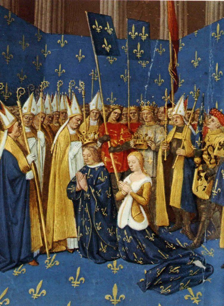 Couronnement de Louis VIII et Blanche de Castille à Reims en 1223. Grandes Chroniques de France, enluminées par Jean Fouquet vers 1455-1460 Paris, BnF, département des Manuscrits