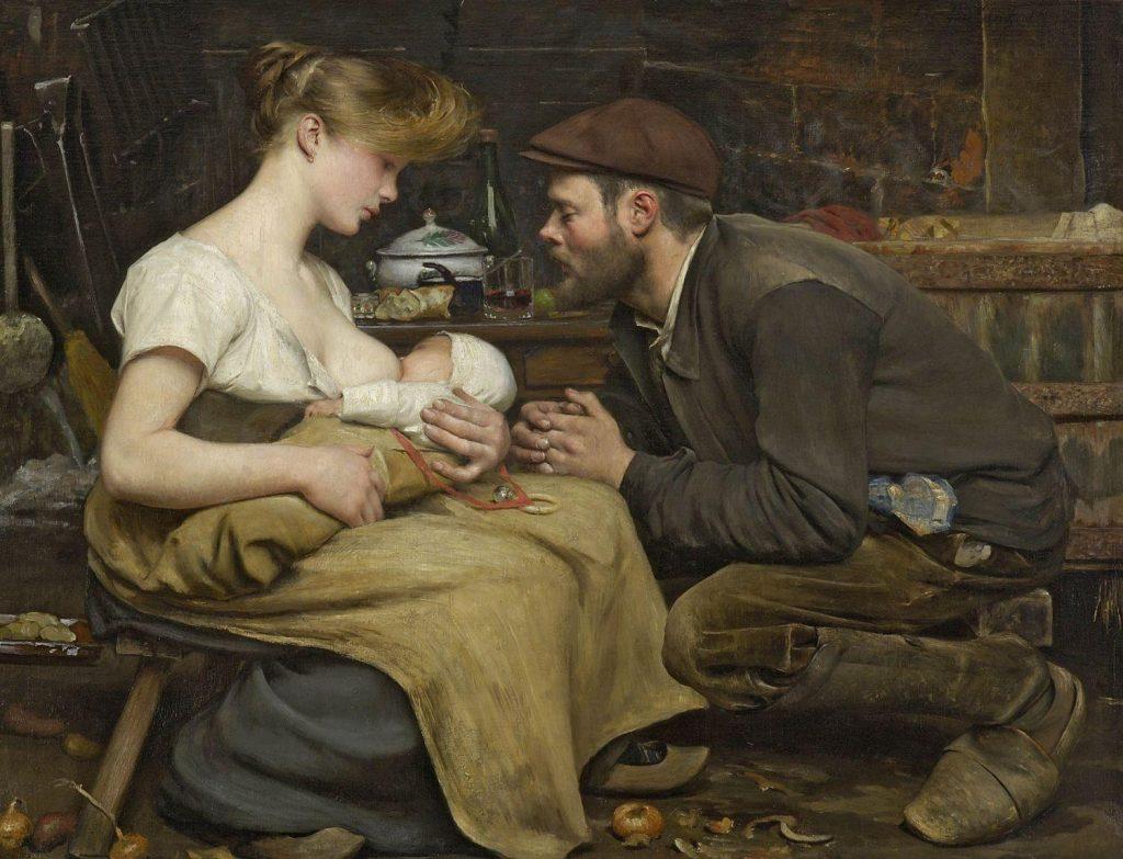 Jean-Eugène Buland (1852-1926), Le bonheur des parents, 1903, huile sur toile, collection privée.