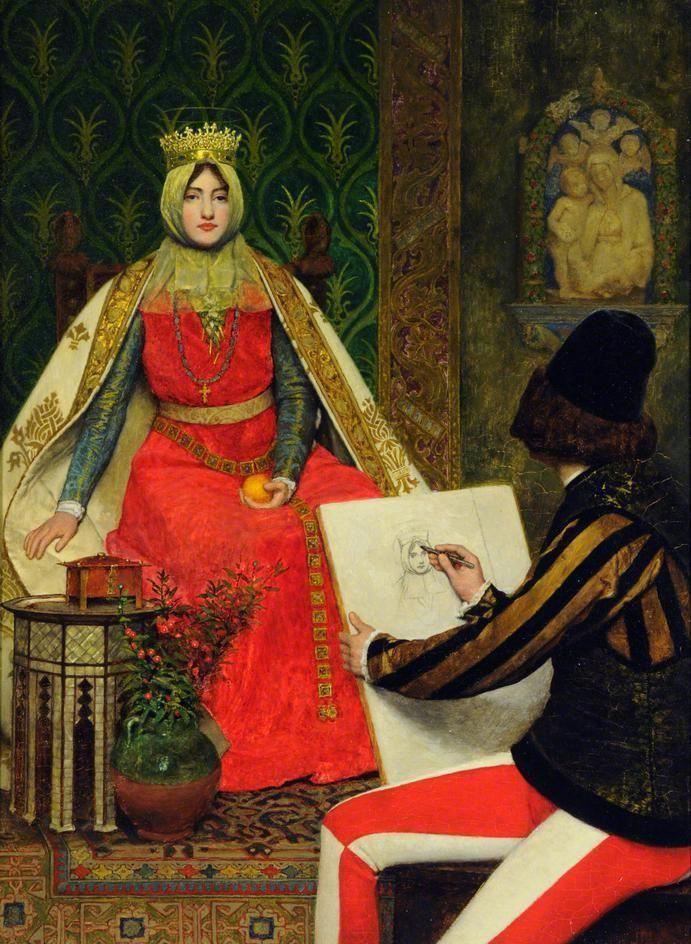 James Dromgole Linton (1840–1916), La reine Élisabeth de Hongrie et le peintre de cour, v.1910, huile sur toile, Museums Sheffield.