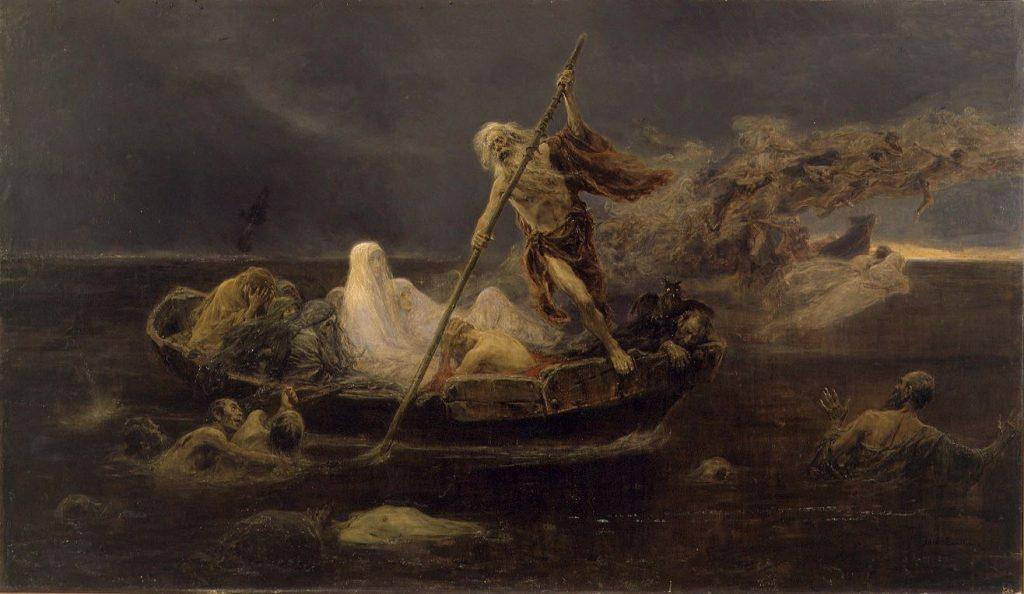 Josep Benlliure i Gil (1855–1937), Charon transportant les âmes le long du Styx, huile sur toile,Musée des beaux-arts de Valence (Espagne).