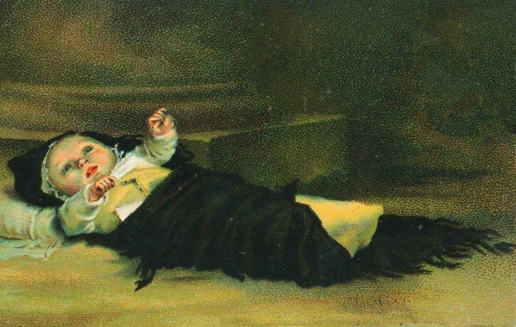 Tableau du XIXème siècle représentant un bébé abandonné. Artiste inconnu.