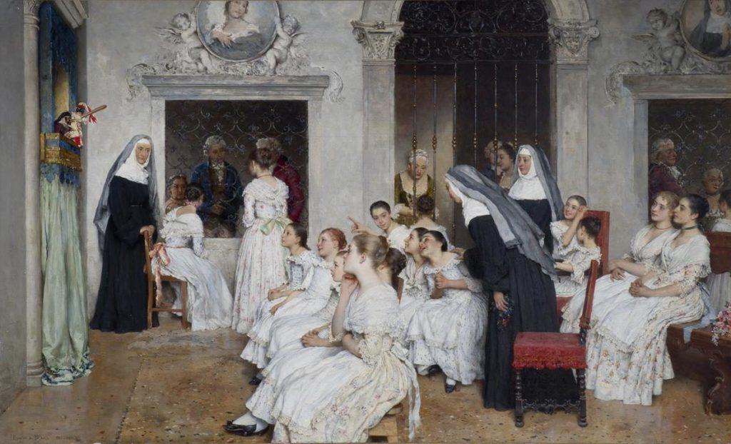 Eugen von Blaas (1843–1932), Le spectacle de marionnettes, 1887, huile sur toile, collection privée.