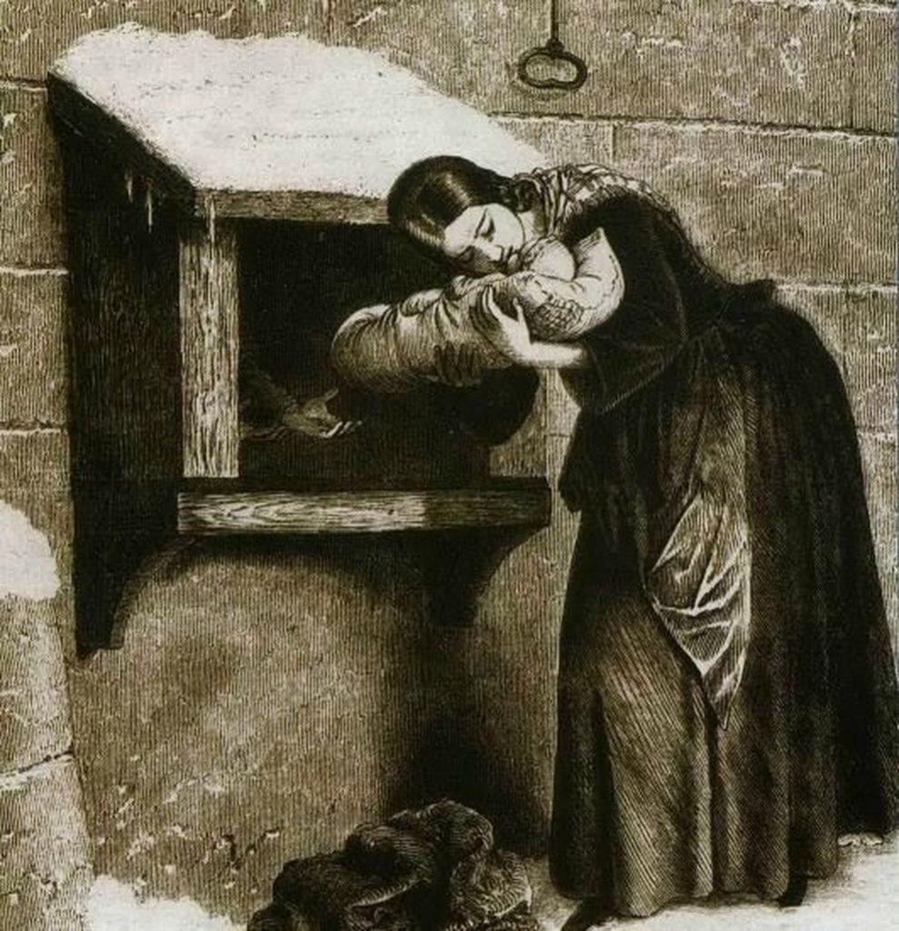 Gravure du XIXème siècle représentant l'abandon d'un nouveau-né dans un tour. Artiste inconnu.