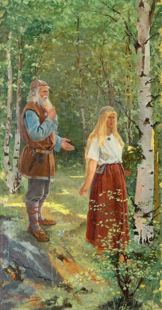 Sigfrid Keinänen (1841–1914), Väinämöinen et Aïno, 1896, huile sur toile.