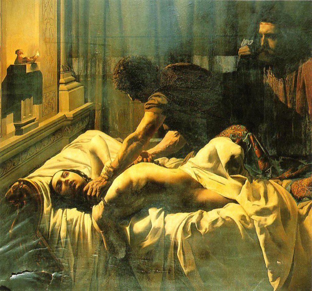 Eugène Philastre fils, Le Meurtre de la reine Galswinthe, 1846, huile sur toile, Musée municipal de Soissons.