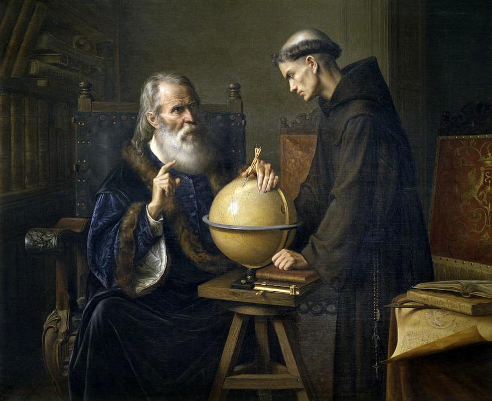 Félix Parra (1845 - 1919), Galilée démontrant les nouvelles théories astronomiques à l'université de Padoue, 1873, huile sur toile, Museo Nacional de Arte, Mexico.