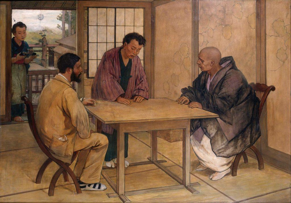 Félix Élie Régamey (1844 - 1907), Rencontre entre Emile Guimet et un moine bouddhiste au Japon, musée Guimet.