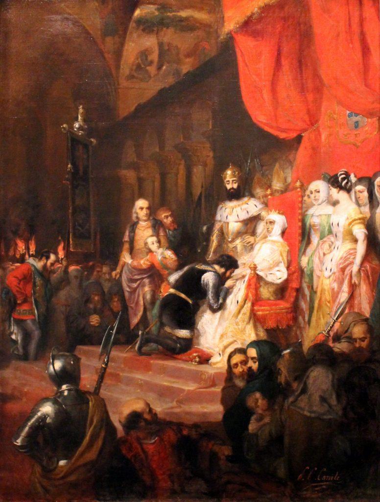 Pierre Charles Comte (1823–1895), Couronnement d'Inès de Castro en 1361, v.1849, huile sur toile, Musée des beaux-arts de Lyon.