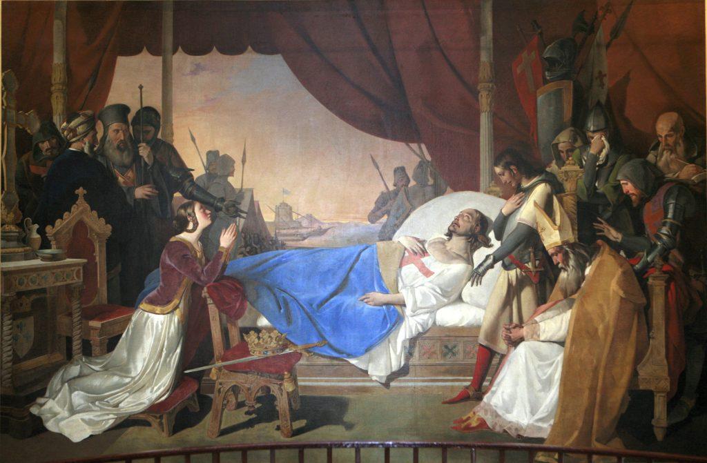 La mort de Saint Louis, école française du XIXème siècle.