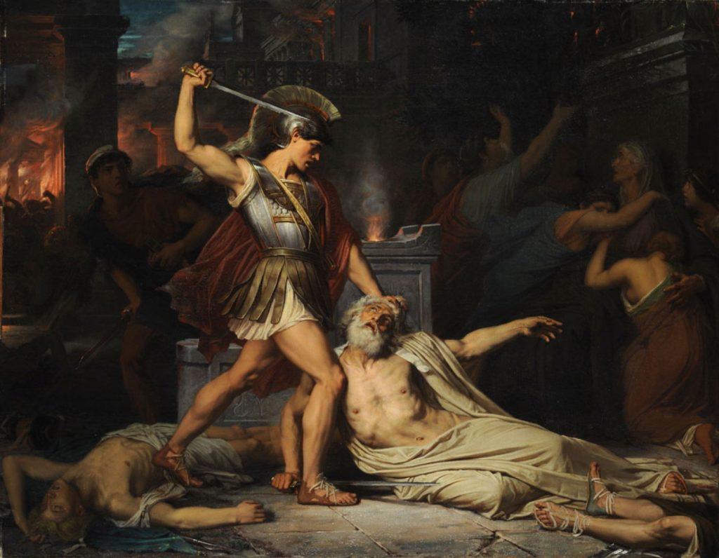 Jules Joseph Lefebvre (1834-1912), La mort de Priam, 1861, huile sur toile,École nationale supérieure des Beaux-Arts.