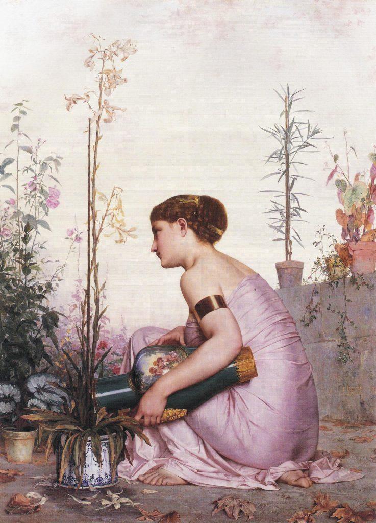 Adolphe Alexandre Lesrel (1839-1929), Le lis est mort, 1873, huile sur toile,collection privée.
