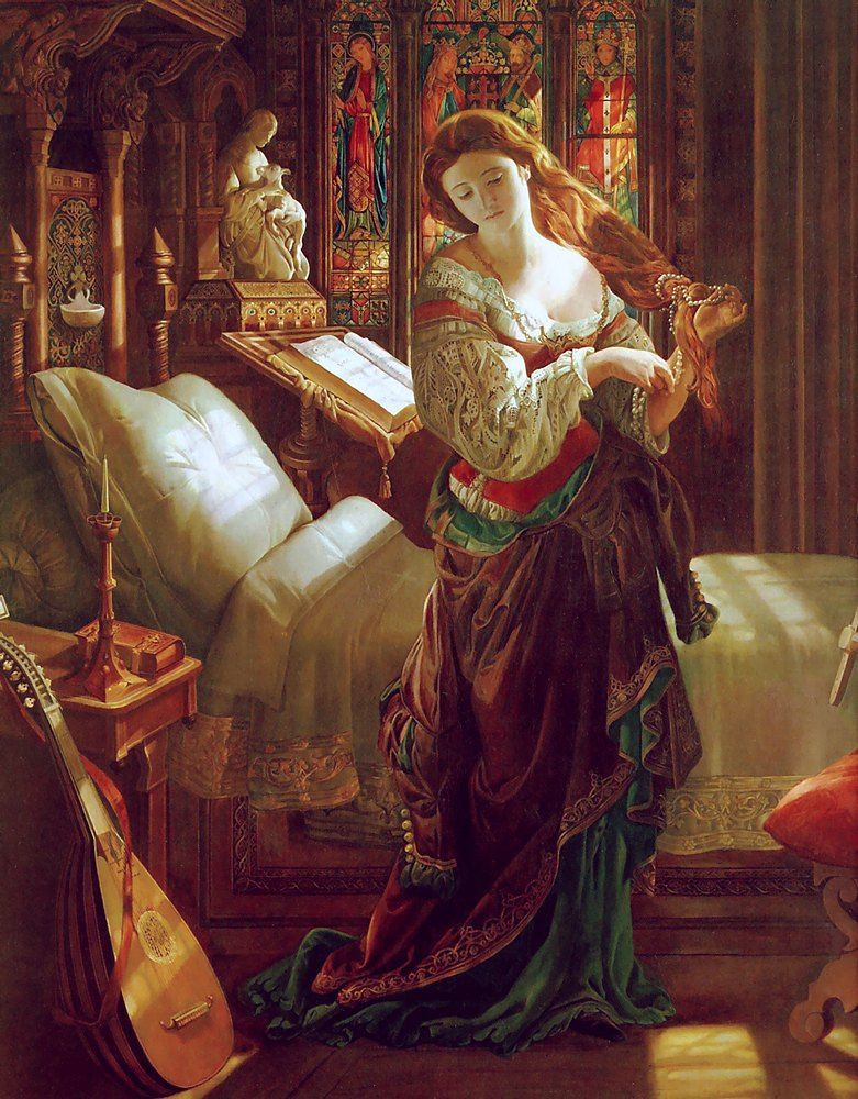 Daniel Maclise (1806-1870), Madeline after prayer (Madeline après la prière), 1868, huile sur toile,Walker Art Gallery.
