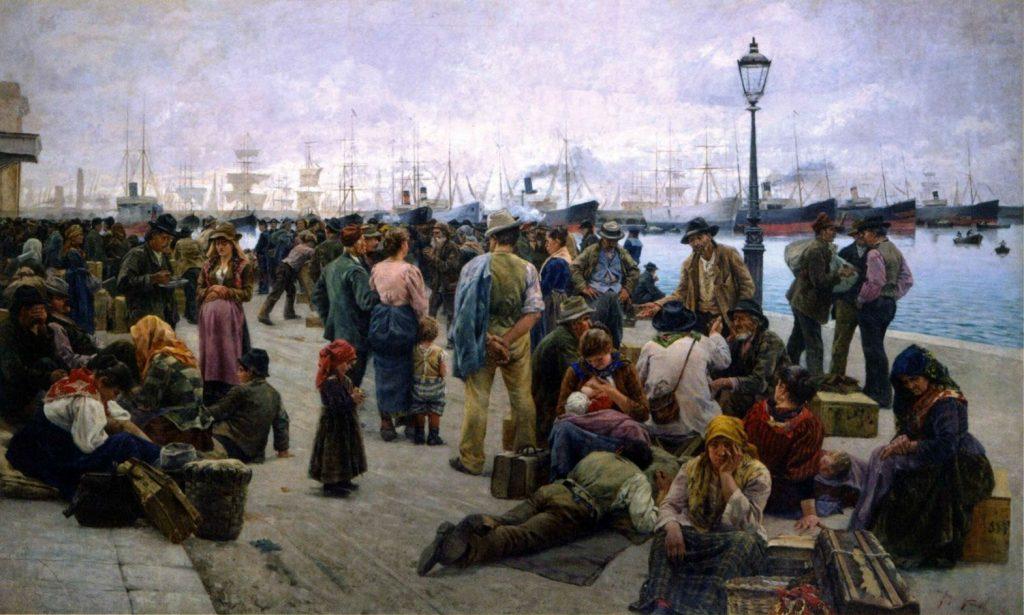 Angiolo Tommasi (1858–1923), Gli emigranti, 1896, huile sur toile, galerie nationale d'Art moderne et contemporain (Rome).